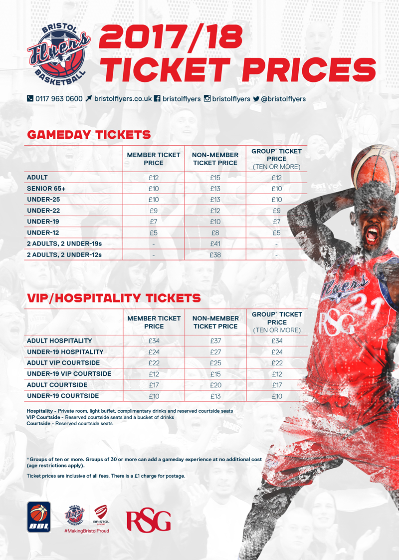 bristol flyers 2017  18 gameday ticket prices confirmed